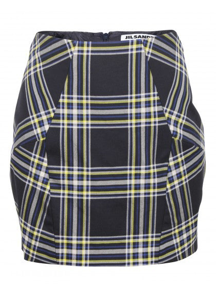 Black, Blue, Yellow and Off-White Plaid Mini Skirt