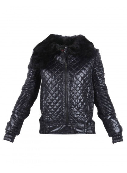 Quilted Jacket With Fur Collar