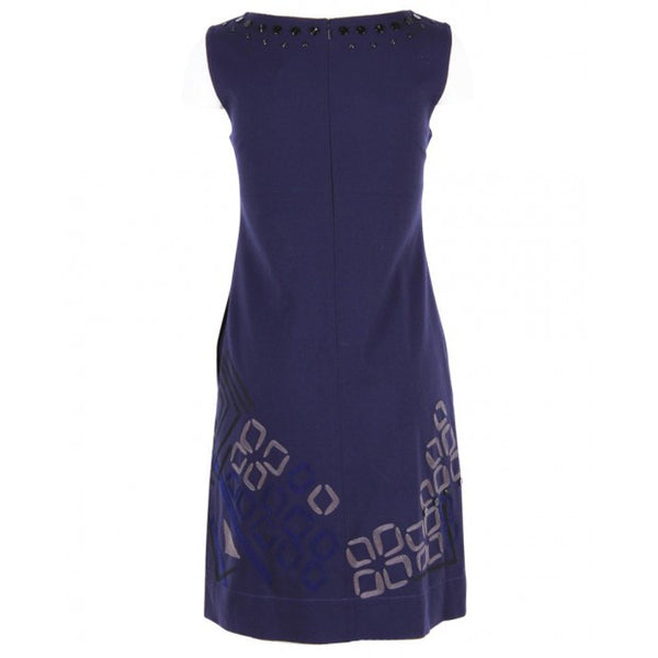Navy Embroidered Sheath Dress