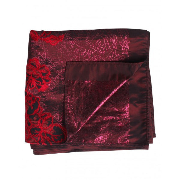 Burgundy Scarf with Red Flowers