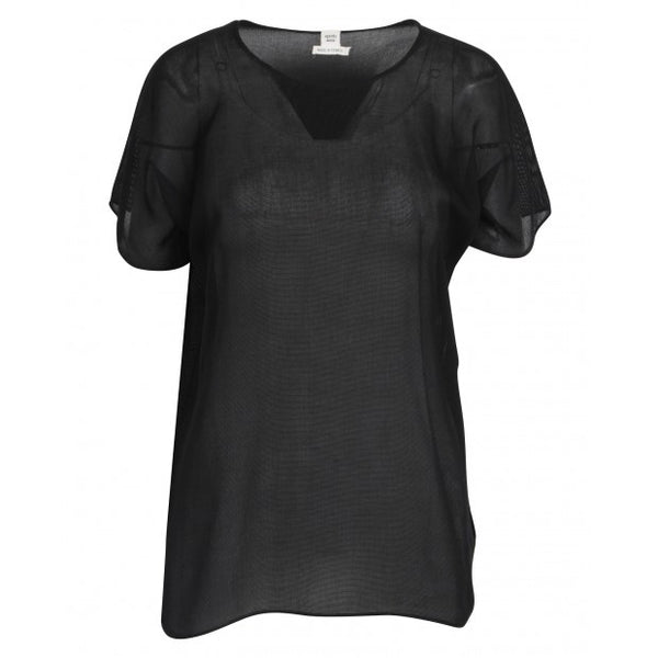 Black Short Sleeve Shirt In Cotton