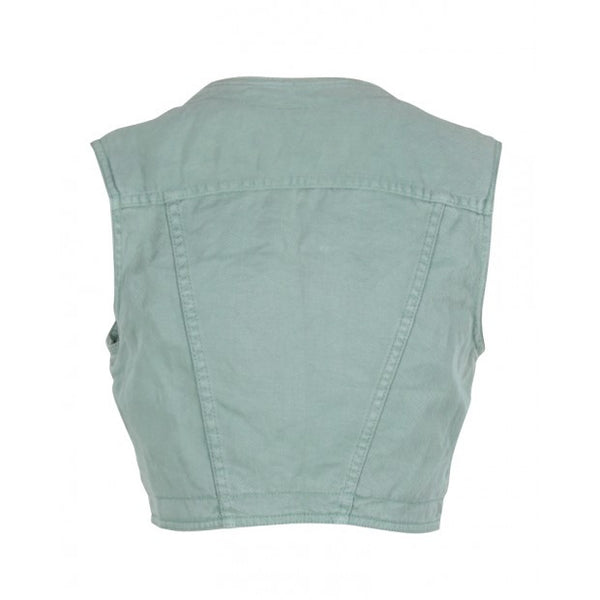 Green Sleeveless Denim Vest