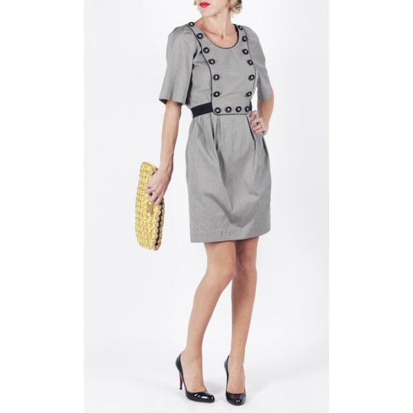 Black and Grey Belted Striped Sheath Dress