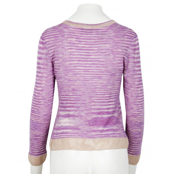 Light Purple V-Neck Sweater With Long Sleeve