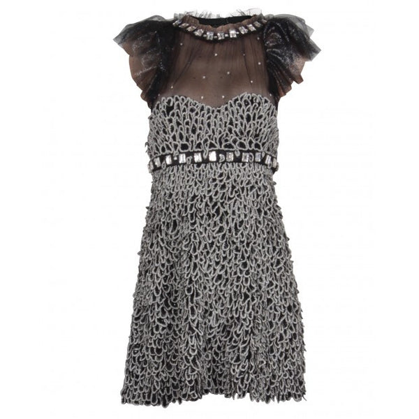 Black and Silver Dress With Pearl and Rhinestone Embellishments