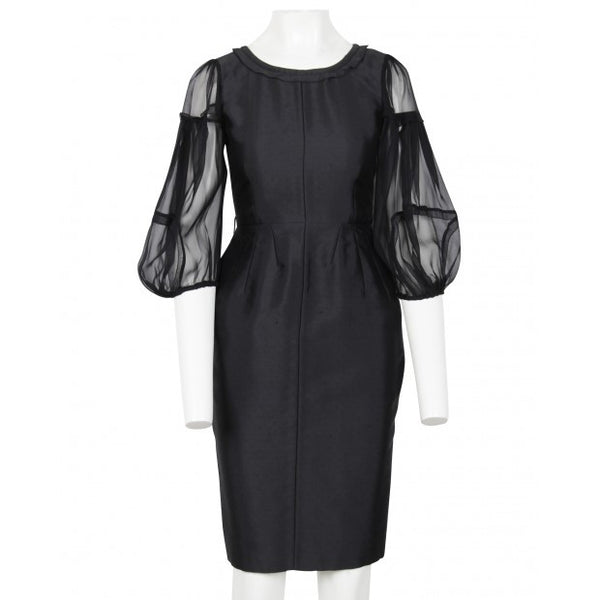Black Bell Dress With Puff Sleeve