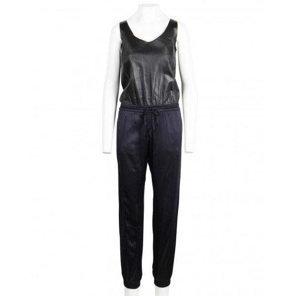 Leather and Silk Satin Jumpsuit
