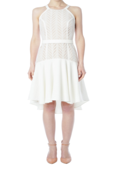Dancing Leaves Eyelet Halter Dress (White)