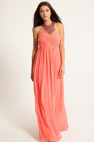 Coral Embellished Maxi Dress