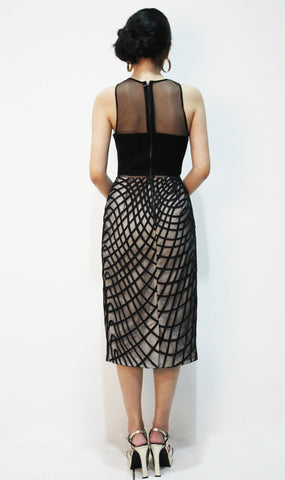 Khloe Cocktail Sheath Dress W Wavy Diamond Skirt