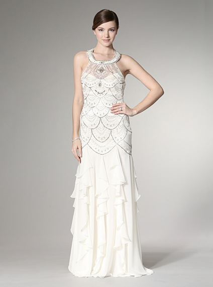 Halter Gown With Ruffled Skirt