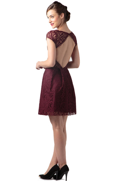 Raisin Lace Crewneck Cap Sleeve Flounce Dress