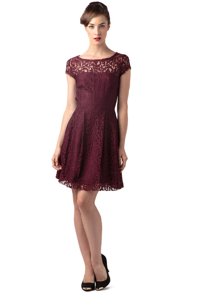 "Raisin Lace Crewneck Cap Sleeve Flounce Dress<br><p style=""color:red;"">Buy For $120</p>"