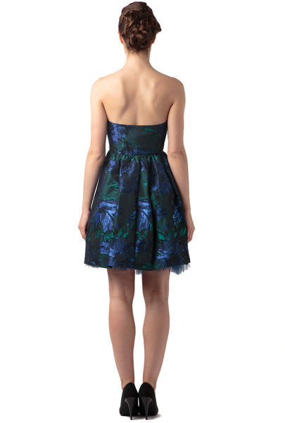 Navy And Green 'Blue Lagoon' Shimmer Jacquard Strapless Party Dress