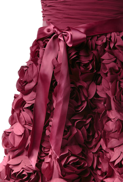 Chiffon Bodice With Rosette Skirt Gown