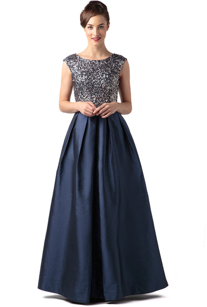 Cap Sleeve Taffeta Gown With Beaded Bodice