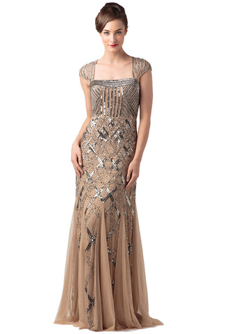 Beaded Portrait-Collar Gown (Nude)
