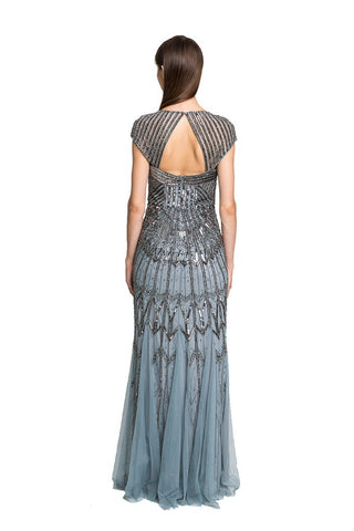 Slate Beaded Portrait-Collar Gown