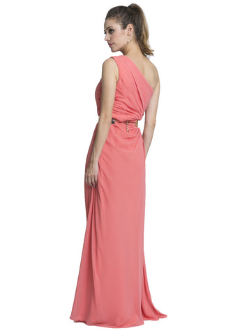 One Shoulder Chiffon Gown with Side Ruching