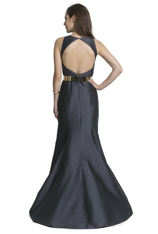 Taffeta Gown with Cut-Out Back