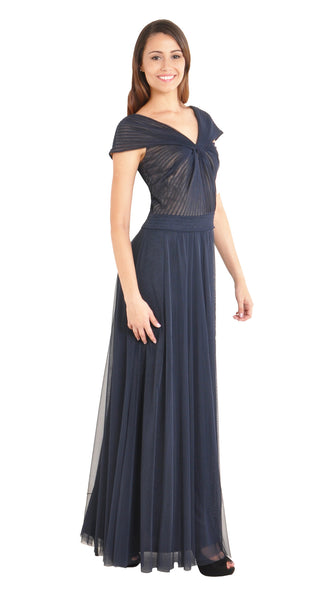 Portrait Collar Pleated Mesh Gown in Blue