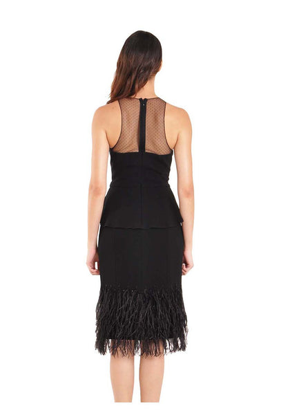 Melrose Cocktail Dress with Peplum & Feathers
