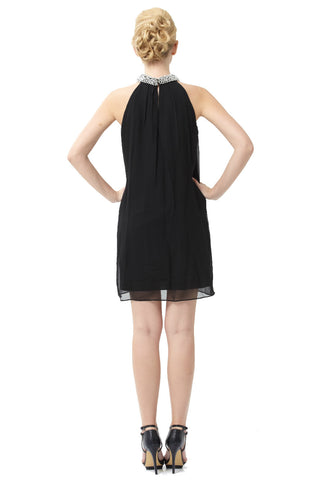Silk Lainey Embellished Dress (Black)