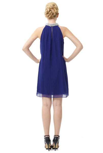Silk Lainey Embellished Dress (Ultramarine)
