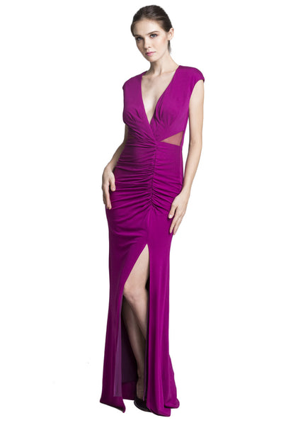 "Mulberry V-Neck Gown<br><p style=""color:red;"">Buy For $250</p>"