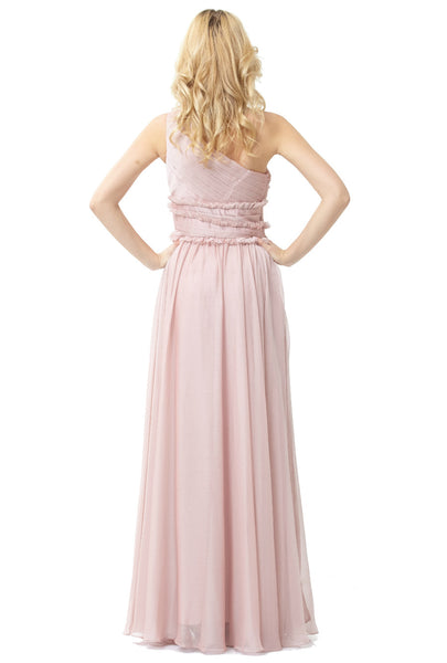 ML Monique Lhuillier Bridesmaids One-Shoulder Chiffon Gown (Blush)