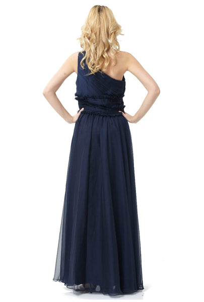 ML Monique Lhuillier Bridesmaids One-Shoulder Chiffon Gown (Navy)