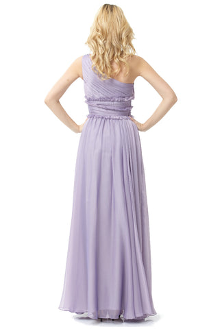ML Monique Lhuillier Bridesmaids One-Shoulder Chiffon Gown (Lilac)