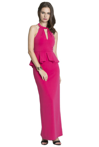 "Pink Nikki Peplum Maxi<br><p style=""color:red;"">Buy For $200</p>"