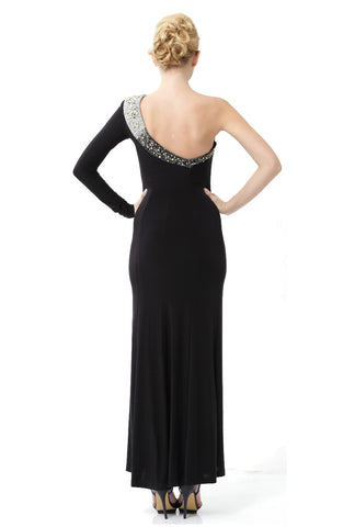Black Embellished Jersey One Shoulder Gown