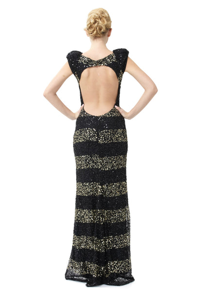 Black And Gold Striped Sequin Cap Sleeve Gown