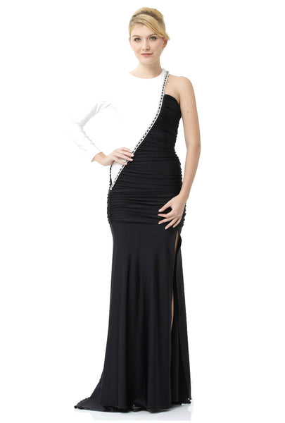 Twisted Long Sleeve Ruched Evening Dress
