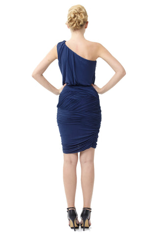 Ocean Jersey Knit One-Shoulder Ruched Banded Dress