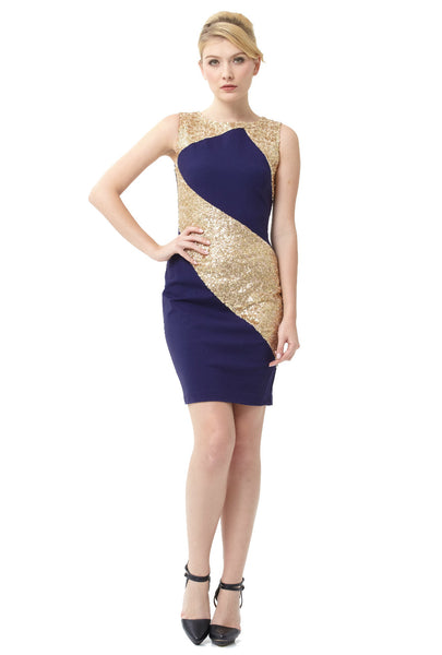 Navy And Gold Stretch Sequin Sleeveless Dress