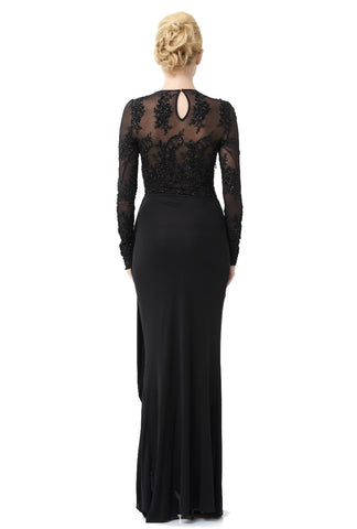 Black Stretch Sequin Embroidered Long Sleeve Illusion Gown