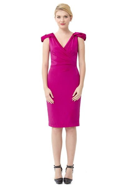 "Rosette Cap-Sleeve Cocktail Dress<br><p style=""color:red;"">Buy For $120</p>"