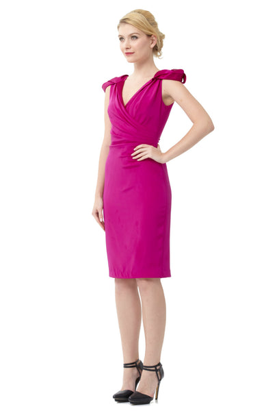 Rosette Cap-Sleeve Cocktail Dress