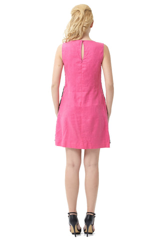 "Fuchsia Lace Overlay Pocketed Sleeveless Linen Dress<br><p style=""color:red;"">Buy For $90</p>"