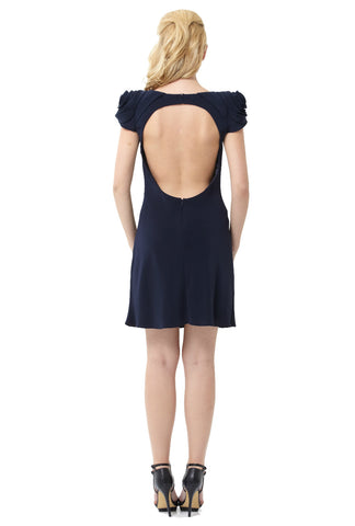 Midnight Blue Sateen Rosette Shoulder Open Back Dress