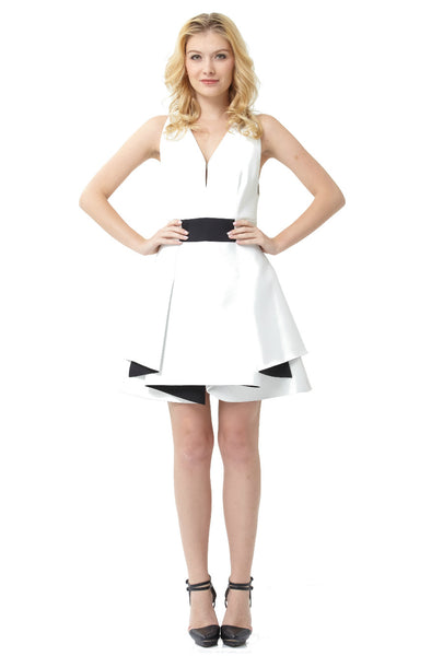 White Bonded Neo Flounce Dress
