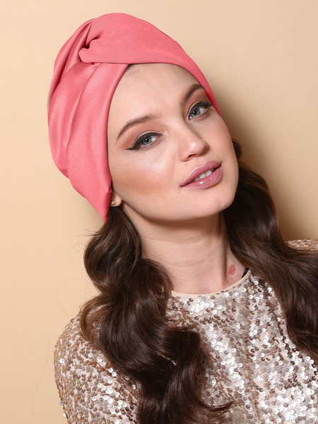 Pleated Twist Turban in Coral pink