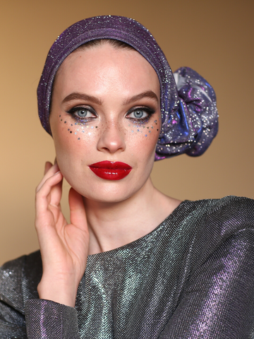 Gliter purple 3T ROSE TURBAN