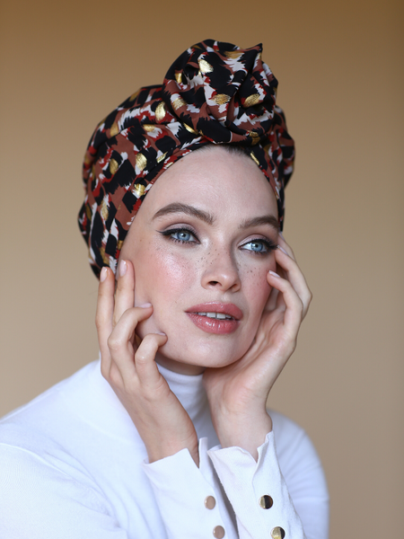 Gold Leopard Flower turban