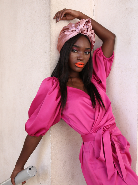 Flower silk Turban in Pink