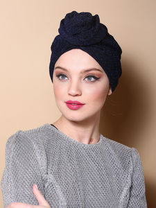 Sparkling Flower Turban in Blue