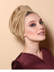 Pleated Twist Turban in Gold-Mustard